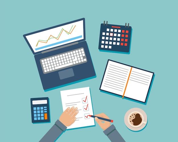 Karikatur des desktops mit verschiedenen büroartikeln.