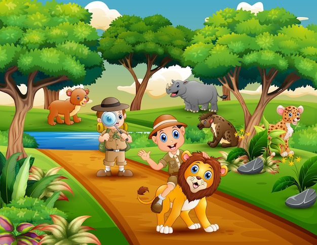 Karikatur des forschers mit zwei jungen mit tieren im dschungel