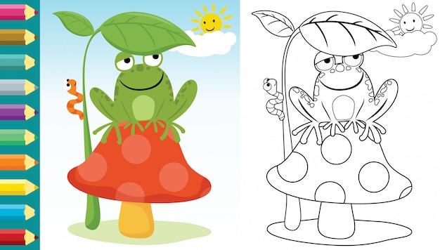 Karikatur des frosches, der auf pilz sitzt, der von lodernder sonne versteckt