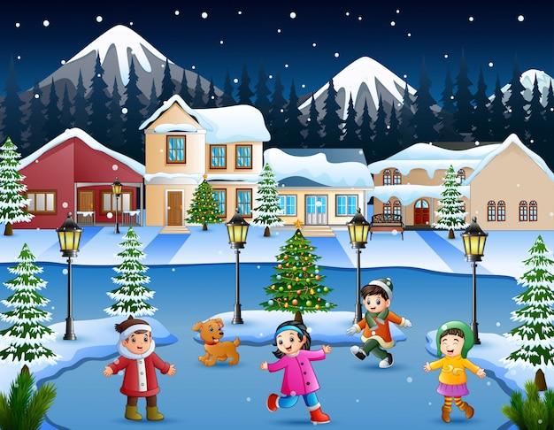 Karikatur des glücklichen kindes spielend im schneienden dorf