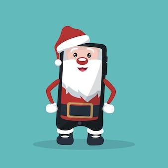 Karikatur des handys in form von santa claus