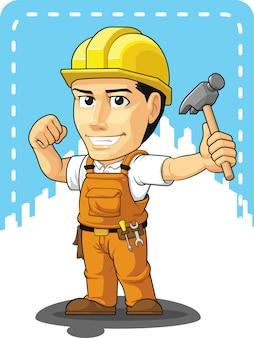 Karikatur des industriellen bauarbeiters