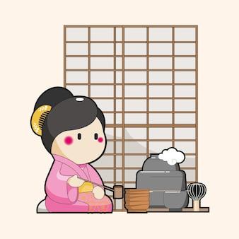 Karikatur des japanischen charakters, die traditionellen tee dient