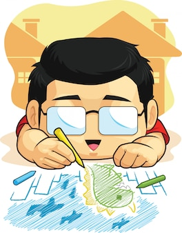 Karikatur des jungen liebt zeichnen & kritzeln