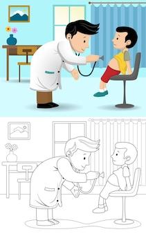 Karikatur des kinderarztes, der jungen bei einem besuch untersucht