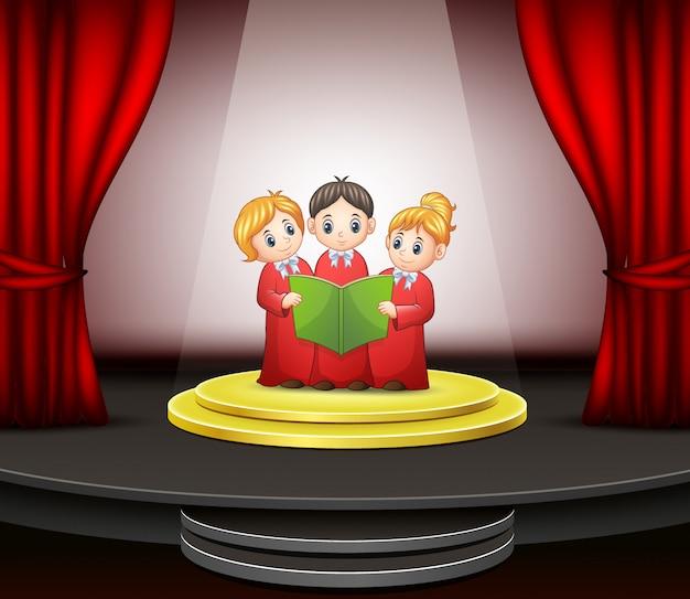 Karikatur des kinderchors, der auf der bühne durchführt