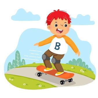 Karikatur des kleinen jungen, der auf skateboard im park reitet