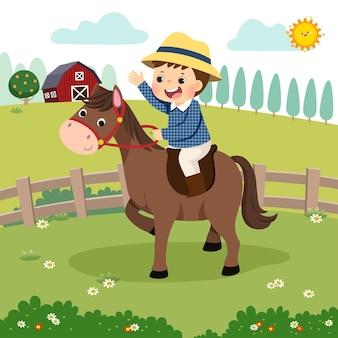 Karikatur des kleinen jungen, der ein pferd in der farm reitet