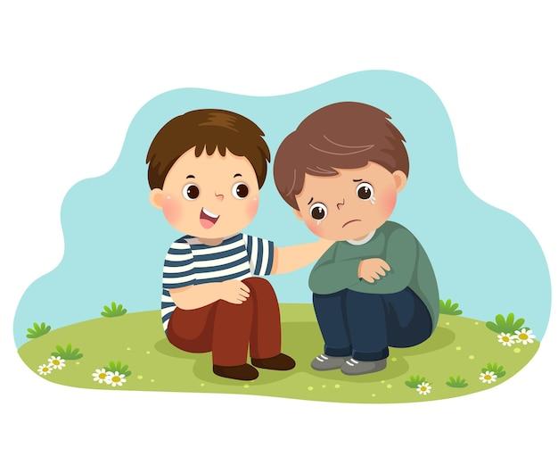 Karikatur des kleinen jungen, der seinen weinenden freund tröstet