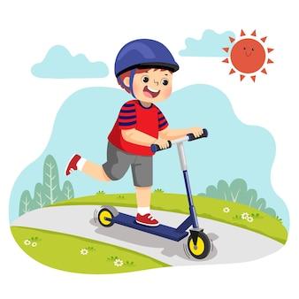 Karikatur des kleinen jungen, der zweirädrigen roller im park reitet