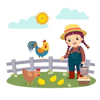 Karikatur des kleinen mädchenbauern, der ihre hühner füttert