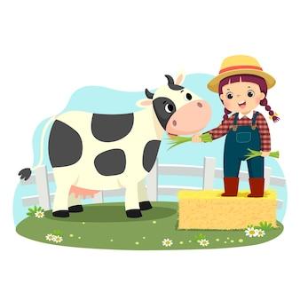 Karikatur des kleinen mädchens auf heuballen, das ihre kuh mit grünem gras füttert