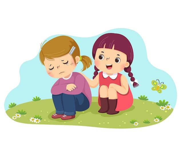Karikatur des kleinen mädchens, das ihren weinenden freund tröstet.