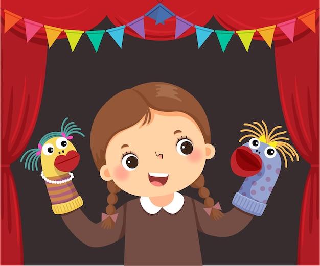 Karikatur des kleinen mädchens, das sockenpuppentheater spielt.