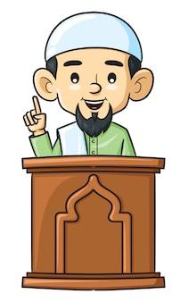 Karikatur des klerikers, der vortrag hält.