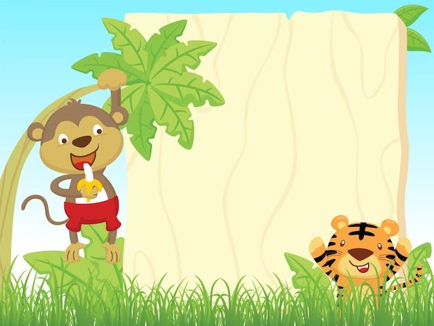 Karikatur des leeren leeren rahmens mit affen hängen am bananenbaum, während banane hält, tiger, der im busch versteckt