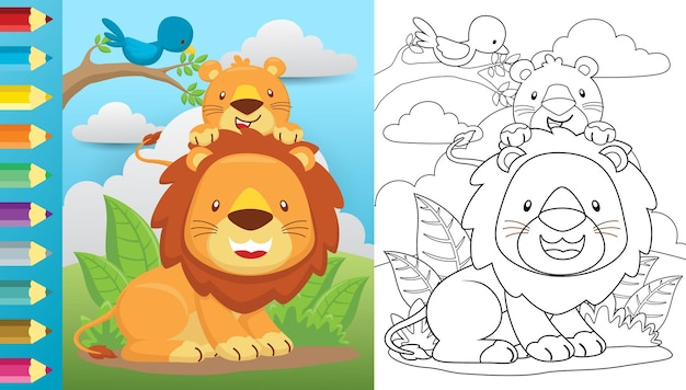 Karikatur des löwen und seines jungen auf blättern mit einem vogelbarsch auf ästen