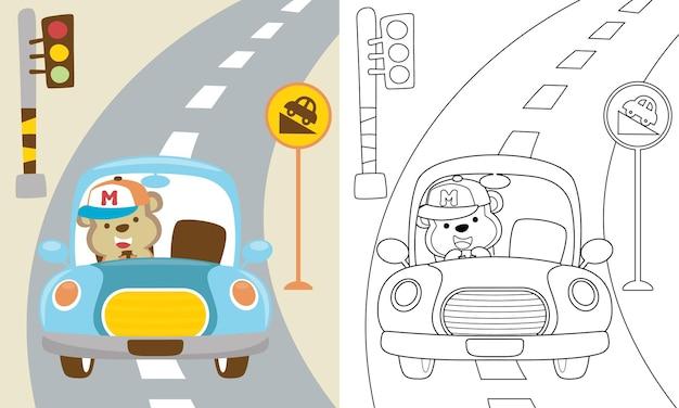 Karikatur des lustigen affen, der auto in der straße fährt