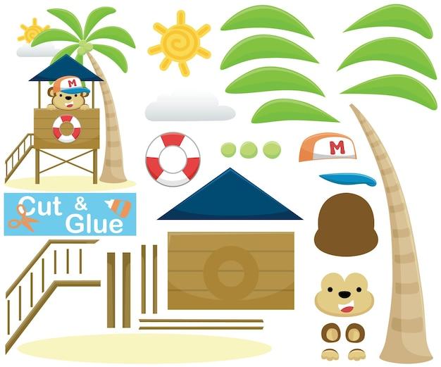 Karikatur des lustigen affen die küstenwache auf rettungsschwimmerpfosten. bildungspapierspiel für kinder