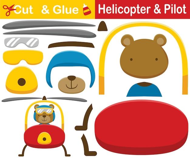 Karikatur des lustigen bären auf hubschrauber. bildungspapierspiel für kinder. ausschnitt und kleben