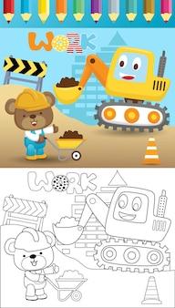 Karikatur des lustigen baggers mit einem kleinen bären in einem bauprozess, malbuch oder seite