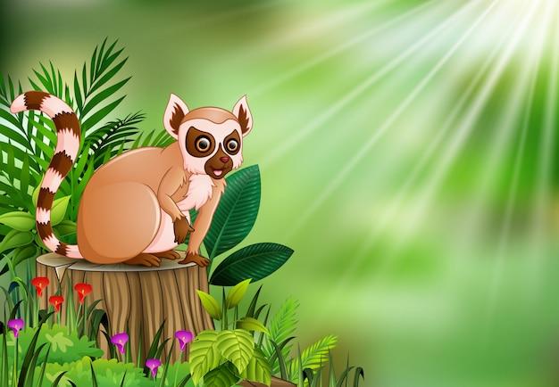 Karikatur des makis sitzend auf baumstumpf mit grünen blättern und blühender pflanze