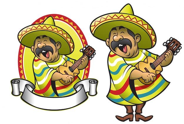 Karikatur des mexikanischen mannes die gitarre spielend und singend