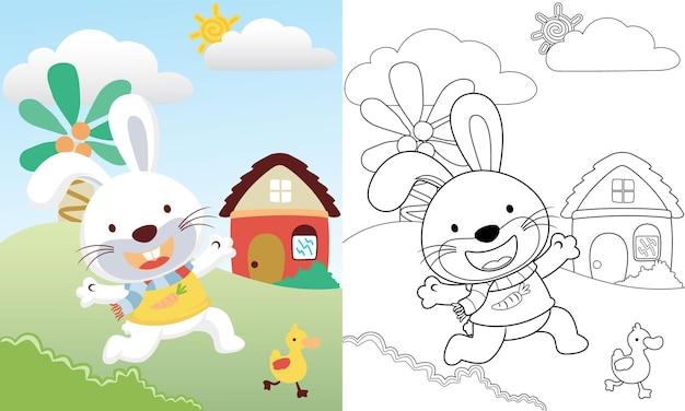 Karikatur des niedlichen kaninchens, das entlein auf landschaftsansichthintergrund jagt