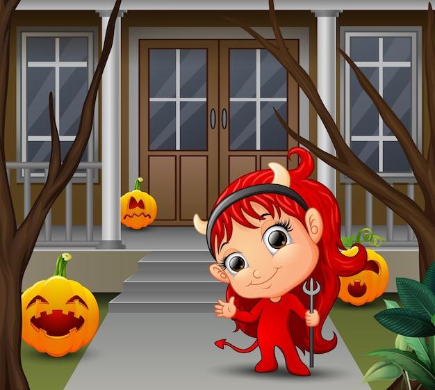 Karikatur des schönen roten behaarten kleinen teufels