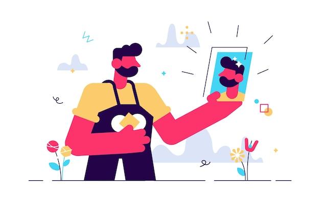 Karikatur des selfie-fotos mit mann, der smartphone hält Premium Vektoren