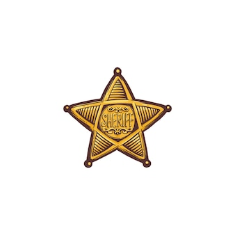 Karikatur des sheriff-sternschildes oder des abzeichens lokalisiert. goldenes weinleseemblem des amerikanischen polizeivertreters, des stellvertreters oder des sheriffs.