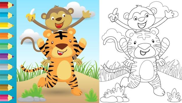 Karikatur des tigers, der affen auf seinen schultern, malbuch oder seite trägt