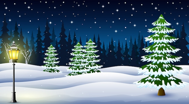 Karikatur des winternachthintergrundes