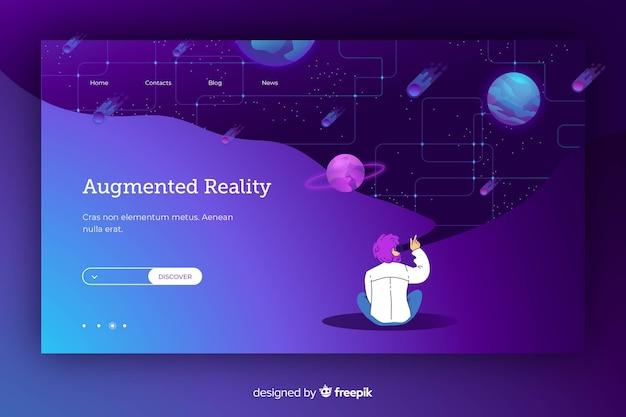 Karikatur, die auf eine galaxie in der virtuellen realität zeigt