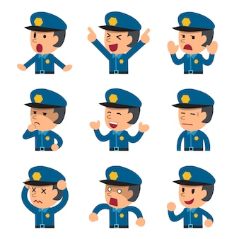 Karikatur, die ein polizist stellt, verschiedene gefühle zeigend