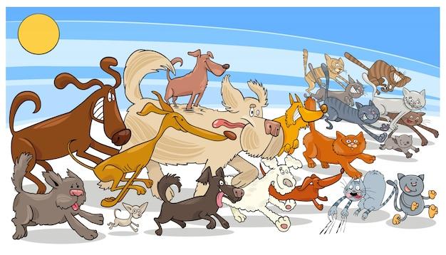 Karikatur, die hund- und katzengruppe laufen lässt