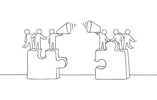 Karikatur, die kleine leute mit rätseln arbeitet. hand gezeichnet für geschäftliches und soziales design.