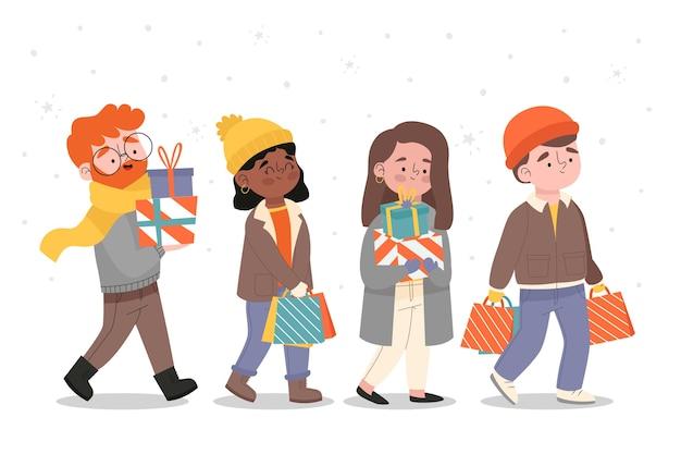 Karikatur, die winterkleidung trägt und geschenke kauft