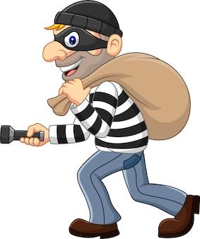 Karikatur-dieb, der eine tasche mit taschenlampe geht und trägt