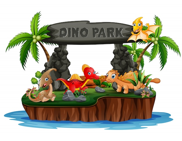 Karikatur dinosaurier in der dino-parkinsel