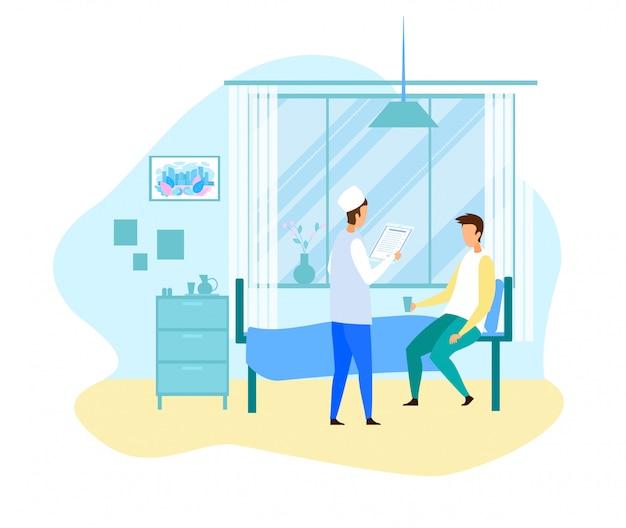 Karikatur-doktor visit male patient an der krankenstation
