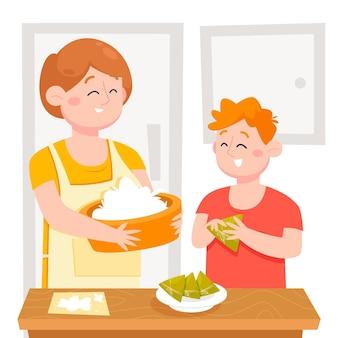 Karikatur drachenboot familie vorbereiten und essen zongzi illustration