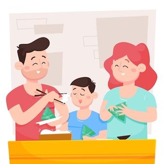 Karikatur drachenboot familie vorbereitung und essen zongzi illustration