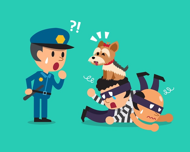 Karikatur ein hilfender polizist des netten hundes, diebe zu fangen