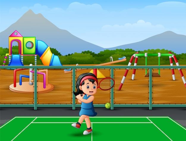 Karikatur ein kleines mädchen, das tennis spielt