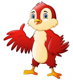 Karikatur ein rotes vogelwellenartig bewegen