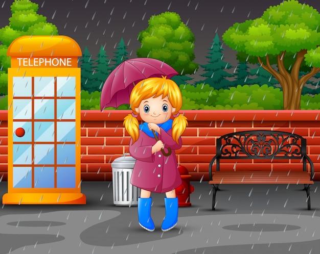 Karikatur ein tragender regenschirm des mädchens