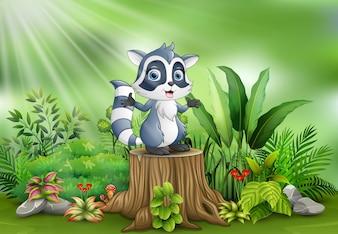 Karikatur ein Waschbär, der auf Baumstumpf mit Grünpflanzen steht