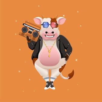 Karikatur einer kuh, die musik im radio hört