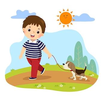 Karikatur eines kleinen jungen, der seinen hund für einen spaziergang im freien in der natur nimmt. kinder, die hausarbeitsarbeit zu hause konzept tun